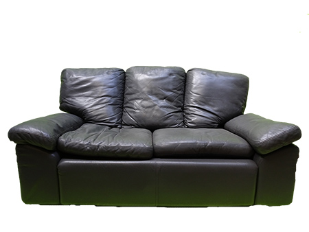 Black Leather 3-Seater Sofa