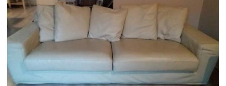 Creme 3 Seater Sofa Leather